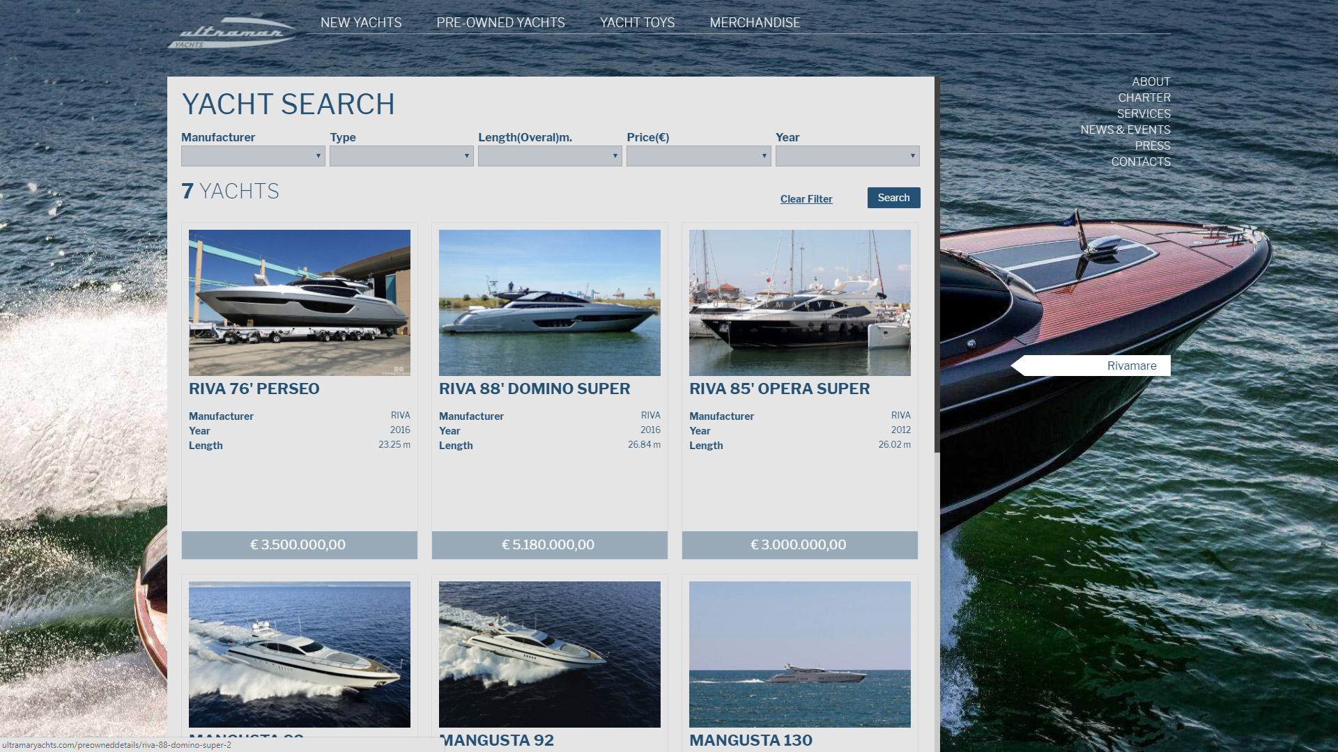 Ultramar Yacht Web Design